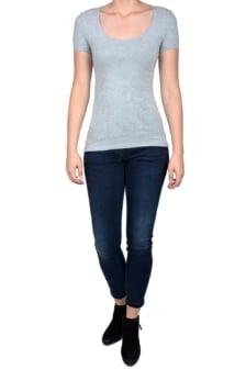 Light grey t-shirt women short sleeve