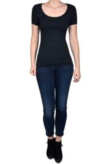 Black t-shirt women short sleeve