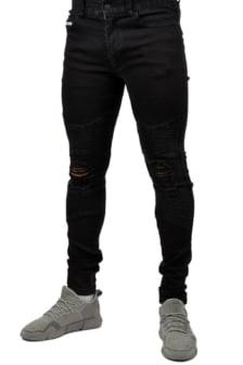 Biker jean ripped black 016