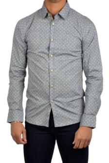 Shirt dot check str.poplin dk.navy