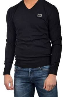 Antony morato round collar with metal plaq black