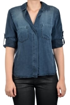 Bella dahl split back button down black